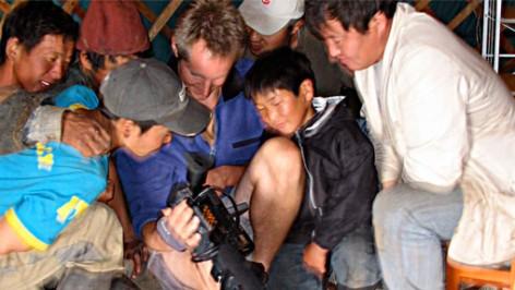 Eero Johnson sharing footage in Mongolia