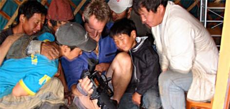 Eero Johnson filming in Mongolia